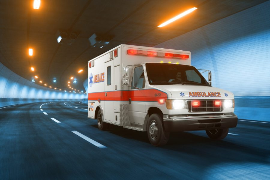 Classic Ambulance vehicle with glow and motion blur 3d rendering